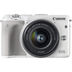 キヤノン Canon EOS M3 レンズキット(ホワイト)  EOSM3WH-1545ISSTML...