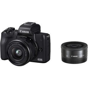 キヤノン Canon EOS Kiss M ブラック  ダブルレンズキット EOSKISSMBK-W...