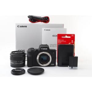 キヤノン Canon EOS Kiss M ブラックレンズキット 美品 Wi-Fiで新品8GB SD...