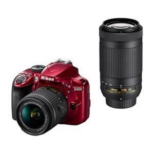 【あすつく】【選べる5年間延長保証対象(別料金)】ニコン D3400 ダブルズームキット レッド|camera-saito