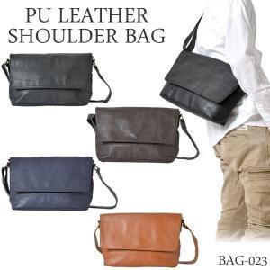 エントリーでPU LEATHER SHOULDER BAG PUレザーショルダーバッグ メンズ シンプル bag-023|cameron