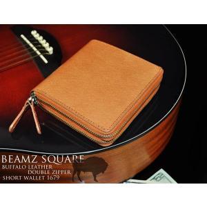 【BEAMZ SQUARE】 ビームススクエア バッファロー ダブルジップウォレット 二つ折り財布 メンズ キャメル 本革レザー BS-1679|cameron