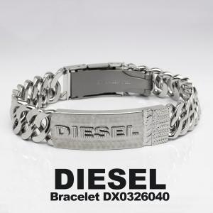 DIESEL ディーゼル ブレスレット レザー プレート DX0326040 シルバー