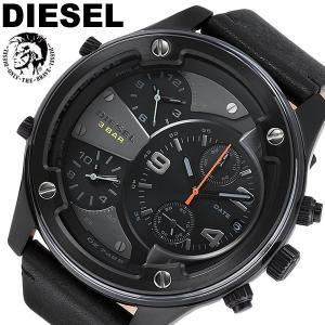 【DIESEL】 ディーゼル 腕時計 メンズ トリプルタイム クロノグラフ ビッグフェイス クオーツ 10気圧防水 レザー ボルトダウン BOLTDOWN DZ7425|cameron
