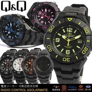 シチズン Q&Q 電波ソーラー 腕時計 メンズ 100m防水 アナログ ラバーベルト HG14 セール|cameron