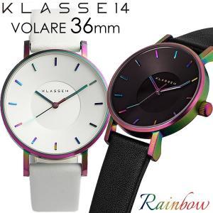 KLASSE14 クラス14 腕時計 レディース 36mm レインボー ブラック ホワイト革ベルト ...