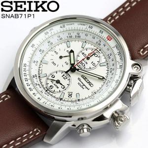 セイコー SEIKO 逆輸入 パイロットクロノグラフ 腕時計 メンズ レザー 革ベルト SNAB71P1|cameron