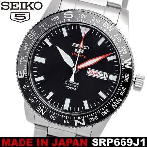 【SEIKO5 SPORT】 セイコーファイブスポーツ 腕時計 メンズ 自動巻き 10気圧防水 カレンダー 日付 曜日 ハック機能 回転ベゼル ステンレス  SRP669J1 cameron