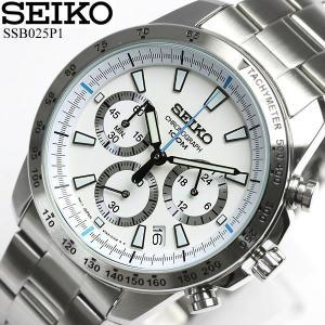 SEIKO セイコー クロノグラフ 逆輸入 メンズ 腕時計 ビジネス ホワイト 白 SSB025P1|cameron