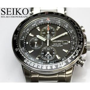SEIKO セイコー ソーラー パイロットクロノグラフ 腕時計 SSC009P1 高性能のセイコーク...