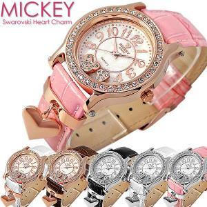 ミッキーマウス 腕時計 レディース レディス 人気 ハートチャーム ピンクゴールド 革ベルト ギフト ディズニー コラボ|cameron
