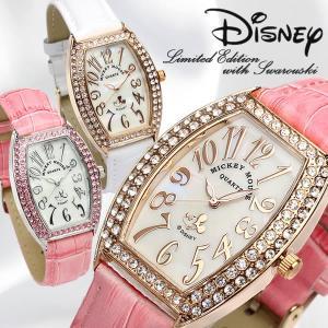 ミッキーマウス Mickey 腕時計 レディース トノー型 本革レザー スワロフスキー|cameron