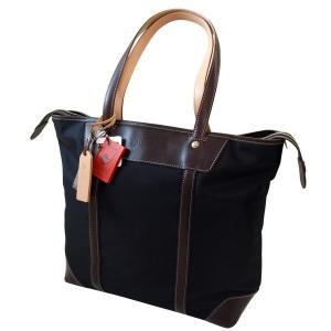 「Regale」エンドー鞄 栃木レザー×高密度ナイロン 縦型トートバッグ ブラック「日本製」|cameshouse