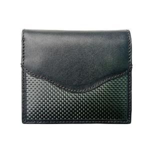 二つ折財布 カーボン×本革 ブラックステッチ 「ルキミア」|cameshouse