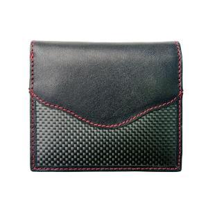 二つ折財布 カーボン×本革 レッドステッチ 「ルキミア」|cameshouse