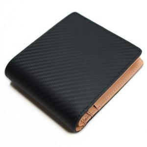 二つ折り財布 カーボン柄の本革 内側ヌメ色 カーボンフィルムレザー 「ルキミア」|cameshouse