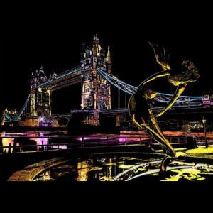セイスクラッチ Story View ロンドンタワーブリッジ (London Tower Bridge) スクラッチ塗り絵 A3:定形外OK|cameshouse