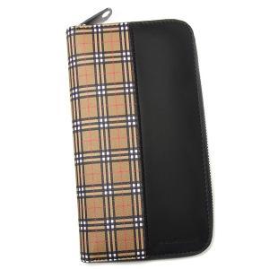 d9e59472166a バーバリー 財布 メンズ レディース BURBERRY ラウンドファスナー 4080175 70450 ベージュ+ブラック チェック柄