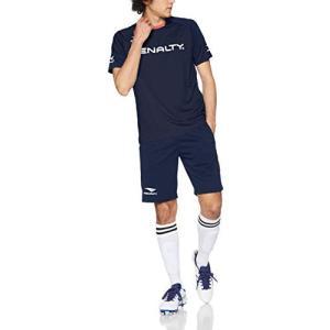 ペナルティ サッカー フットサル 半袖Tシャツ ショートパンツ 上下セット ライトプラスーツ ストレッチ 両ポケット PU9310 ネイビー Sサイズ|campista