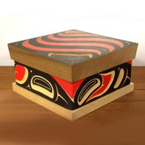 カナダ 先住民 ネイティブ インディアン アート ベントウッドボックス ( BENTWOOD BOX ) アブストラクトデザイン