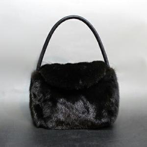 カナダ Michoulas ブランド 高級 ミンク ファー 毛皮 ハンドバッグ 黒色 52cm