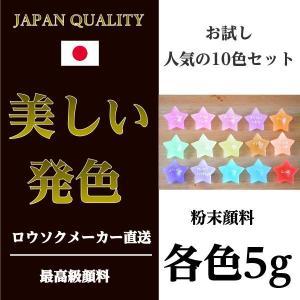 お試し用 粉末顔料 人気の10色セット 各色5g  キャンドル 材料 カラー 顔料 着色