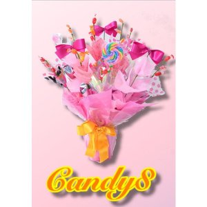 キャンディブーケ candy8 pink りぼん アレンジ 誕生日 結婚式 女の子 贈り物 プレゼント ギフト candy-8
