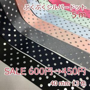グログラン ぷくぷくシルバードット 5m 幅40mm|candy-smile