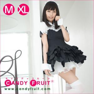 キャンディフルーツ カーディナルメイド服(ブラック) レディース 半袖 ブラック 黒 M,XLサイズ|candyfruit-maid