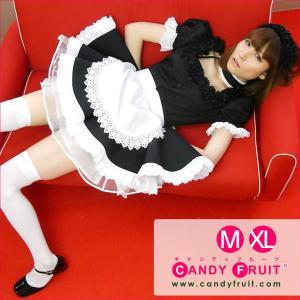 キャンディフルーツ ベルフィーユメイド服(ブラック) レディース 半袖 ブラック 黒 M,XLサイズ|candyfruit-maid