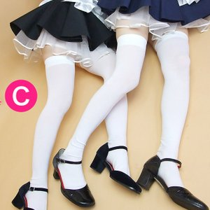 【一番人気♪】ウルトラロングホワイトニーソックス【サイハイ丈オーバーソックス】:完全国産オリジナル!メイド服はもちろん、コスプレ・制服にも candyfruit-maid
