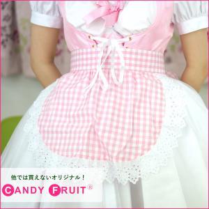ギンガムチェックショートエプロン(ピンク)【送料無料】 candyfruit-maid