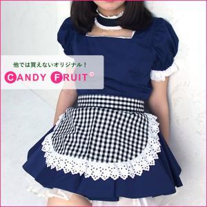 ギンガムチェックショートエプロン(ブラック)【送料無料】 candyfruit-maid