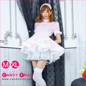 キャンディフルーツ ベルフィーユメイド服(ギンガムピンク) レディース 半袖 白 ホワイト M,XLサイズ|candyfruit-maid