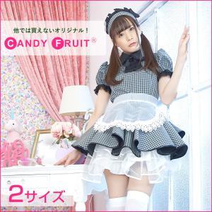 キャンディフルーツ ミルクメイド服(グレー×ギンガムブラック) レディース 半袖 グレー M,XLサイズ|candyfruit-maid