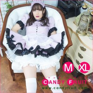 キャンディフルーツ ベルフィーユメイド服(ダスティピンク) レディース 半袖 グレー M,XLサイズ|candyfruit-maid
