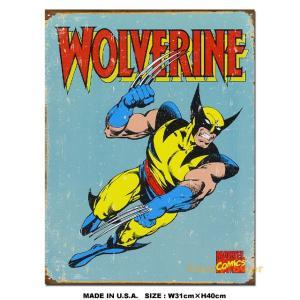 大ヒット映画「X-メン」に登場する人気キャラ、ウルバリンの昔のコミックバージョンがブリキ看板になって...