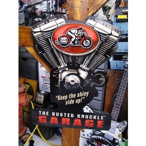 バステッドナックルガレージ VツインエンジンのU.S.ヘヴィースチールサイン アメリカ雑貨 アメリカン雑貨|candytower
