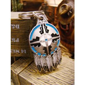 インディアンキーリング(ドリームキャッチャー) ■ アメリカ雑貨 アメリカン雑貨 キーホルダー おしゃれ メンズ キーリング 鍵 ウエスタングッズ|candytower
