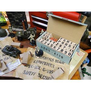 U.S.ミリタリーステンシルスタンプ 42Pセット 【Mサイズ】 文字サイズ(1.5cm/0.6インチ) ※インク別売 アメリカン雑貨 アメリカ雑貨|candytower