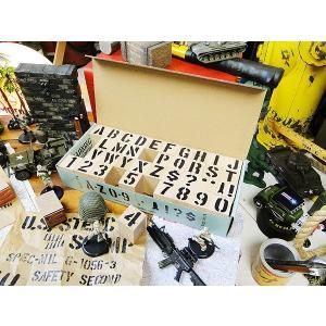 U.S.ミリタリーステンシルスタンプ 42Pセット 文字サイズ(2.5cm/1インチ)Lサイズ ※インク別売 アメリカ雑貨 アメリカン雑貨|candytower