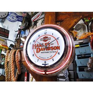 【全国送料無料】【即納】【在庫あり】 ハーレーダビッドソン モーターサイクル・ダブルネオンクロック ■ アメリカン雑貨 アメリカ雑貨 harley davidson  時計|candytower