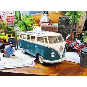 1962年ワーゲンバスのミニカー 1/24スケール(グリーン) ■ アメリカン雑貨 アメリカ雑貨 インテリア雑貨  フォルクスワーゲン モデルカー 正規品 Kinsmart|candytower