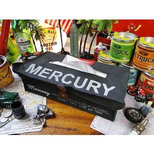 マーキュリー キャンバス・ティッシュケース(ブラック) ■ アメリカン雑貨 アメリカ雑貨 MERCURY おしゃれ 人気 男前 生活雑貨 ティッシュボックス|candytower