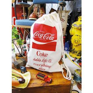 コカ・コーラブランド キンチャクバッグ Lサイズ アメリカ雑貨 アメリカン雑貨 おしゃれ|candytower
