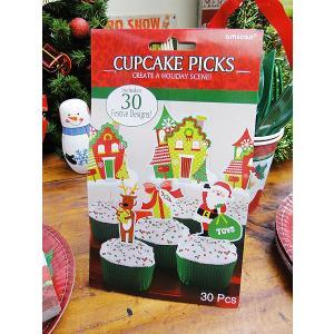 クリスマスシーンのカップケーキピック 30個入り アメリカン雑貨 アメリカ雑貨 candytower