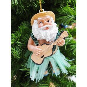 ハワイアン・クリスマスオーナメント(ウクレレサンタ緑) アメリカン雑貨 アメリカ雑貨|candytower