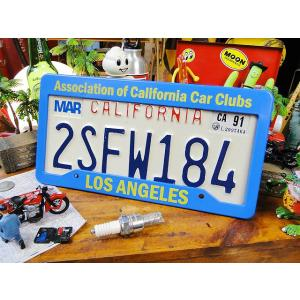 カリフォルニア州のUSEDナンバープレート(フレーム付き/ブルー) アメリカ雑貨 アメリカン雑貨|candytower