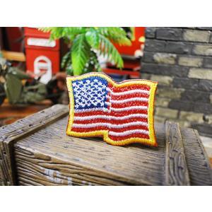 星条旗のワッペン(SSサイズ/ウェーブ) アメリカ雑貨 アメリカン雑貨 おしゃれ candytower