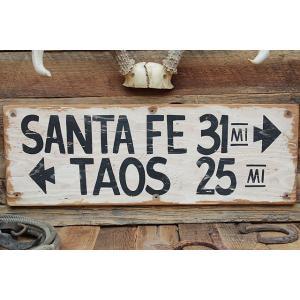 サンタフェまで31マイルの木製看板 アメリカ雑貨 アメリカン雑貨|candytower